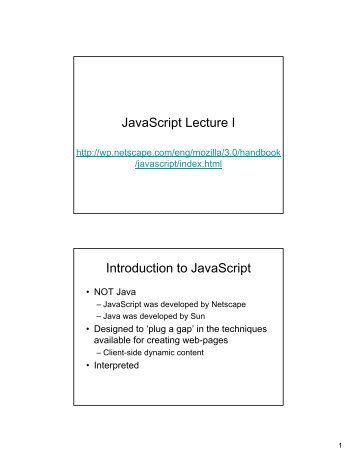 JavaScript Lecture I Introduction to JavaScript - CDF