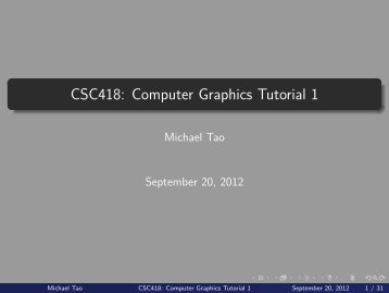 CSC418: Computer Graphics Tutorial 1 - CDF