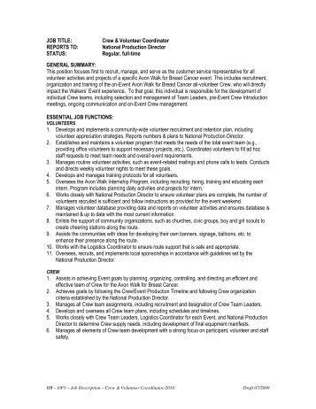 shop volunteer coordinator description