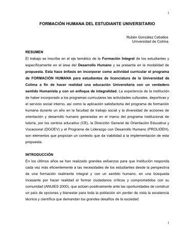 FORMACIÓN HUMANA DEL ESTUDIANTE UNIVERSITARIO