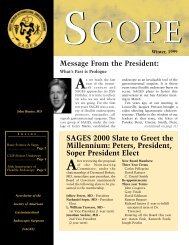 Message From the President: SAGES 2000 Slate to Greet the ...