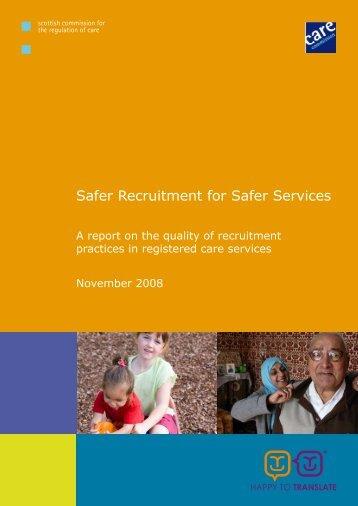 Safer Recruitment for Safer Services