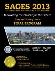 SAGES 2013 Final Program