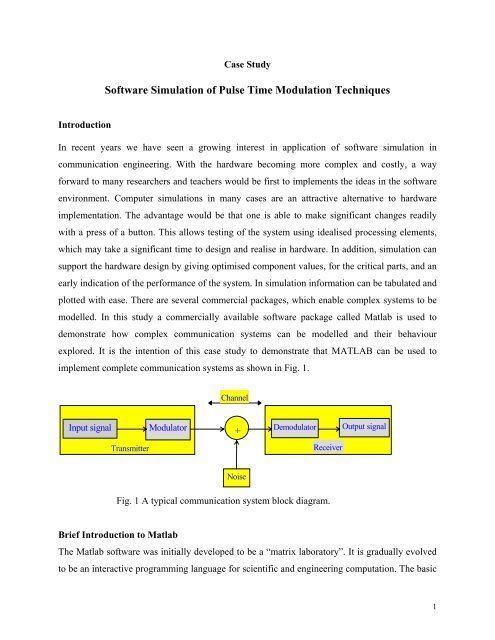 Software Simulation of Pulse Time Modulation Techniques