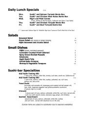 Daily Lunch Specials 13.25 Salads Small Dishes ... - Kaz Sushi Bistro