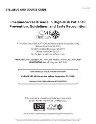 Pneumococcal Disease in High-Risk Patients ... - CME Outfitters