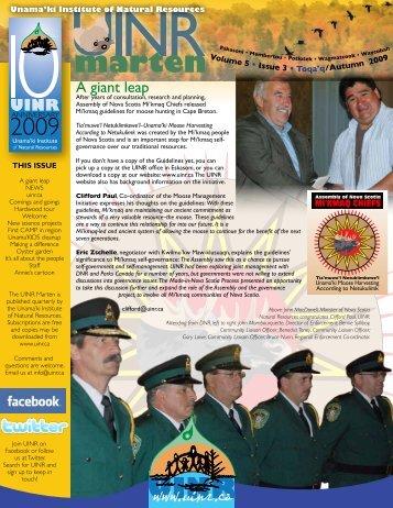 UINR Marten – Vol.5 Issue. 3 – Autumn 2009 - Unama'ki Institute of ...