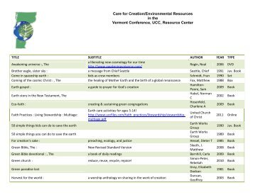Resource List - Vermont Conference United Church of Christ