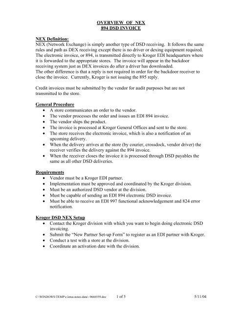 Overview Of Nex 894 Dsd Invoice Nex Definition Kroger Edi