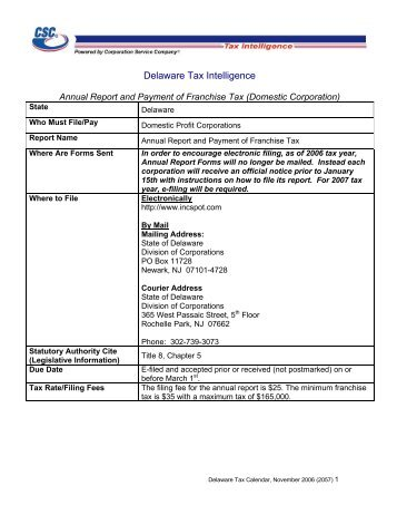 Tax Calendar Database Fields - Corporation Service Company