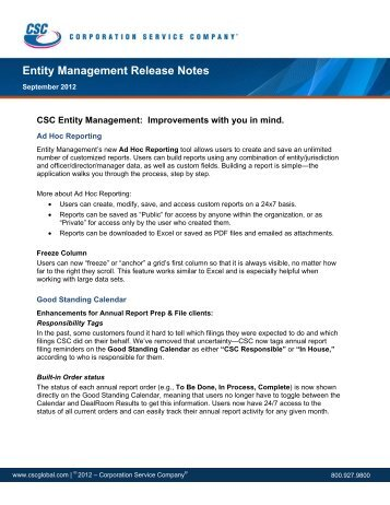 Entity Management Release Notes - Corporation Service Company