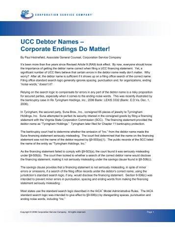 UCC Debtor Names - Corporation Service Company