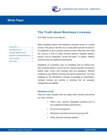 The Truth about Business Licenses - Corporation Service Company
