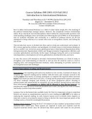 Course Syllabus INR 2001-ญ‐U19 Fall 2012 Introduction to ...