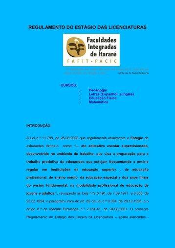 Regulamento de Estágio - Fafit