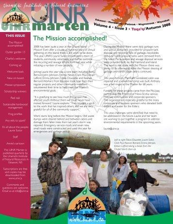 Vol.4. Issue.3 – Autumn 2008 - Unama'ki Institute of Natural Resources