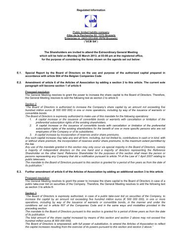 Regulated Information Public limited liability company Allée ... - UCB