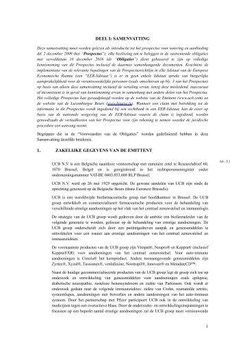Prospectus summary Dutch - UCB