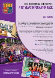 FIRST YEARS INFORMATION PACK - UCC Accommodation