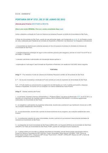PORTARIA GR Nº 5721, DE 21 DE JUNHO DE 2012