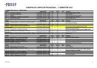 horário do curso de pedagogia – 1º semestre 2012 - Faculdade de ...