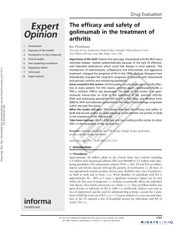 The efficacy and safety of golimumab in the treatment of arthritis