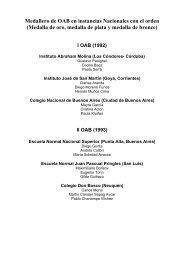 Medallero de OAB en instancias Nacionales con el orden (Medalla ...