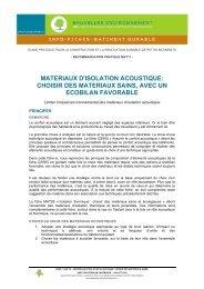 materiaux d'isolation acoustique - Bruxelles Environnement