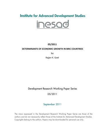 Determinants of Economic Growth in BRIC Countries - inesad