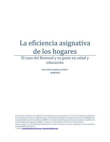 La eficiencia asignativa de los hogares: El caso del ... - inesad