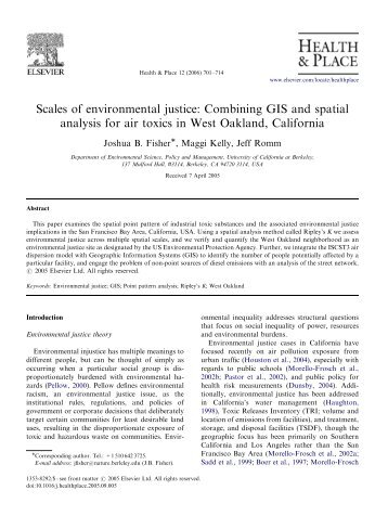 Scales of environmental justice: Combining GIS and spatial analysis ...