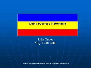 Presentation on Romanian Secured Transaction System - IACA