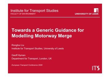 Towards a Generic Guidance for Modelling Motorway Merge - saturn