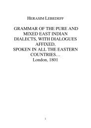 GRAMMAR OF THE PURE AND MIXED EAST INDIAN DIALECTS ...