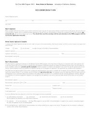 letter of recommendation - The Berkeley MBA - University of ...