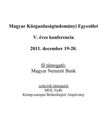 Magyar Nemzeti Bank - Magyar Közgazdaságtudományi Egyesület