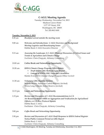 C-AGG November 2013 Agenda DRAFT
