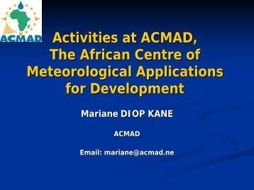 Activities at ACMAD - UCAR Africa Initiative