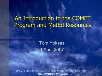 An Introduction to the COMET Program and MetEd Resources ...