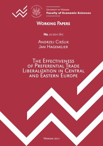 The Effectiveness of Preferential Trade Liberalization in Central and ...