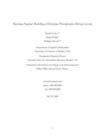 Bayesian Spatial Modeling of Extreme Precipitation Return ... - IMAGe
