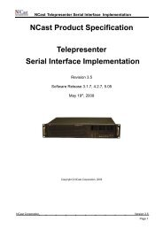 NCast Serial Interface Specification