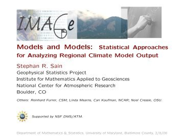 Models and Models: Statistical Approaches for Analyzing ... - IMAGe
