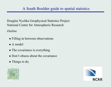 A South Boulder guide to spatial statistics - IMAGe