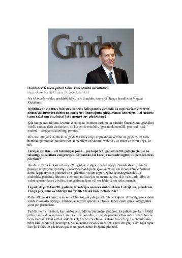 Bundulis: Nauda jādod tiem, kuri strādā rezultatīvi A/s Grindeks ...