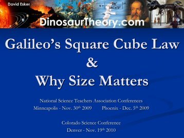 Galileo's Square Cube Law - Colorado Association of Science ...