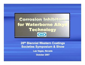 Corrosion Inhibitors for Waterborne Alkyd Technology - Halox
