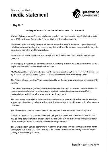 Gympie finalist in Workforce Innovation Awards - Queensland  Health