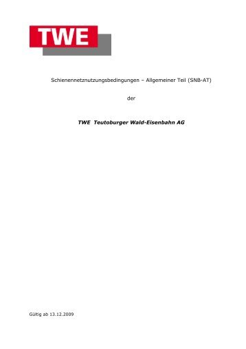 Schienennetznutzungsbedingungen – Allgemeiner Teil (SNB-AT ...