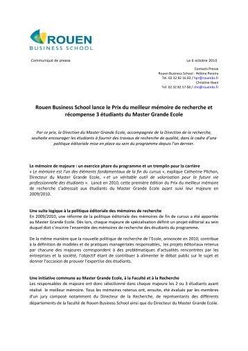 Rouen Business School lance le Prix du meilleur mémoire de ...